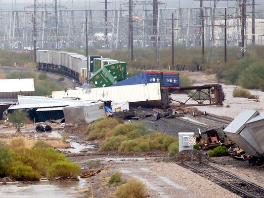 Train derailment in Tucson