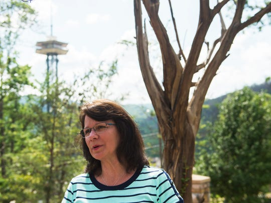 Susan Stocks stands on the property where her and her