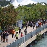 The Detroit riverfront is pictured on Saturday, June 21, 2014.