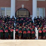 The graduating class from the College of Osteopathic Medicine at William Carey University, gathered on the steps of Tatum Court with degrees in hand on Saturday, May 23.