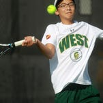West High's Jiung Jung and David DiLeo, pictured, each won two matches to advance to Saturday's semifinals at the boys' Class 2-A state tennis tournament.