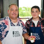 "Steven Finney and Zach Tupes at the Men Who Cook event for the PACE Center for Girls. <br /> For this story and more stories and photos, see the June issue of Pensacola Home and Garden Magazine, and go to <a href=""http://www.PensacolaHG.com"">www.PensacolaHG.com</a>."