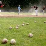 Gabe Matthews, 17, from left, Tony Phong, 17, J.J. Sipple, 18, and Nate Cantonwine, 17, run drills during a practice for the Withnell Dodgers American Legion baseball team at Bush's Pasture Park in Salem on Sunday, July 26, 2015.