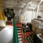 A life boat from the S.S. Edmund Fitzgerald that sunk on November 10, 1975 sits on display in the retired Steamship Valley Camp freighter in Sault Ste. Marie.