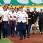 The Somerset Patriots pay tribute to veterans, Sunday, August 30, 2015, during a pregame ceremony at TD Bank Park in Bridgewater, NJ.