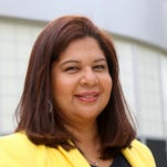 EAA Chancellor Veronica Conforme,  at Henry Ford High School in Detroit on Tuesday, Sept. 8, 2015, says the FBI investigation was prompted by evidence of financial discrepancies and potential misconduct that was uncovered by district leadership.