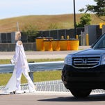 A cardboard dummy dressed in white is used in a demonstration during the Mcity grand opening ceremony at the grounds of the University of Michigan in Ann Arbor in July 2015.
