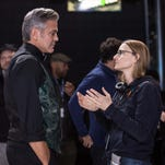 George Clooney and Director Jodie Foster on the set of TriStar Pictures' MONEY MONSTER.
