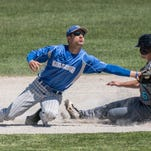 KCC's Anthony DiPonio tags the runner at second during first round action at the NJCAA Region XII Baseball Tournament at Bailey Park on Wednesday.