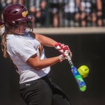 Mercy senior third baseman Cari Padula connects on a Kendahl Dunford pitch in the Division 1 championship game.