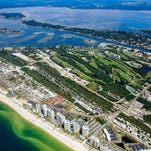 An aerial view of the Losy Key property.