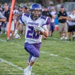 Lakeview's Ethan Eldridge makes a touch down against Portage Northern on Thursday evening.