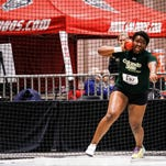 CSU sophomore Aaliyah Pete defended her title in the women's shot put at the Mountain West indoor track and field championships in Albuquerque, New Mexico, Saturday.