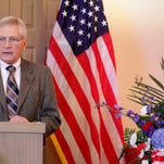 Chaplain Bob Weinberger, an Army veteran, leads a memorial service for homeless veterans on March 17 at the Salem funeral home of Howell, Edwards, Doerksen with Rigdon-Ransom.