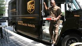 A package delivery made with a hybrid UPS van