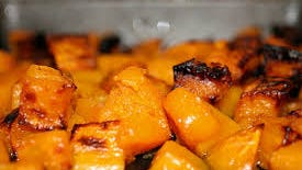 Roasted butternut squash with pecans and sage
