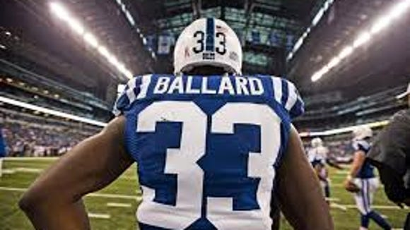 Former Mississippi State running back Vick Ballard was carted off the field during Friday's Colts practice.