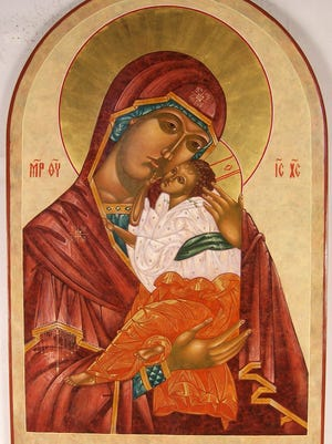 An icon painted in the Russian Byzantine style.