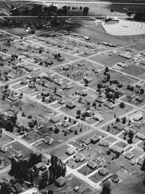An aerial photo from the 1950s shows Coralville, with Highway 6 shown in the upper part of the photo. The photo, along with over 100 others of Coralville, can be found in Timothy Walch's new book Images of America: Coralville.