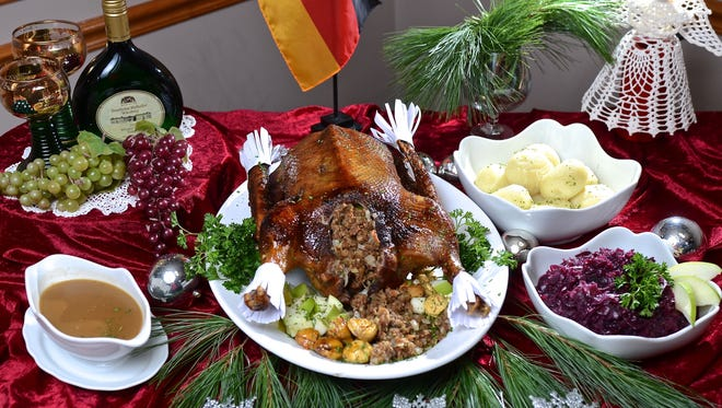 Christmas Goose with potato dumplings, red cabbage and gravy sauce at Gasthaus German restaurant, 4812 Brownsboro Center. December 1st, 2016.