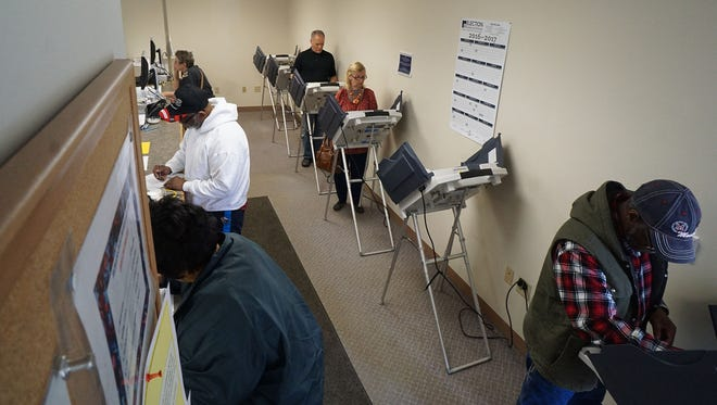 Voters filled the Board of Elections office on Monday, voting early in the Ohio Primary.