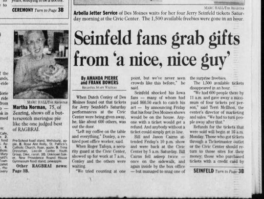1998 report on Jerry Seinfeld's free show.