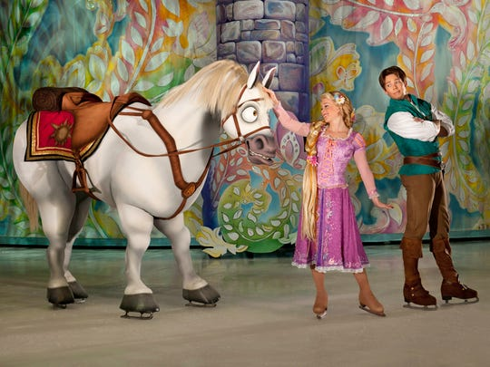 "Rapunzel takes the spotlight in the Disney on Ice production ""Dare to Dream."""
