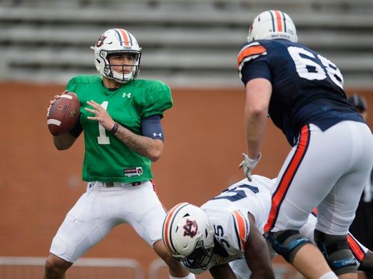 Auburn quarterback Joey Gatewood (1) goes to throw during the Auburn A-Day game on Saturday, April 7, 2018, in Auburn, Ala.