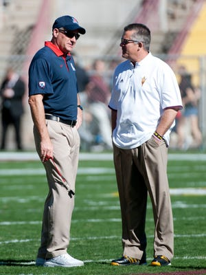 Rich Rodriguez is No. 41 on USA TODAY Sports' college football salary database. Todd Graham is No. 34.