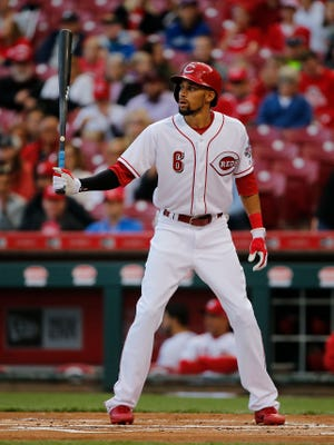Cincinnati Reds center fielder Billy Hamilton (6) gets set in the batter's box in the first inning during the National League Central baseball game between the Pittsburgh Pirates and the Cincinnati Reds, Tuesday, May 2, 2017, at Great American Ball Park in Cincinnati.