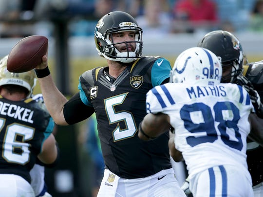 Jacksonville Jaguars quarterback Blake Bortles (5) drops back to pass on the Indianapolis Colts defense in the fourth quarter of their game at EverBank Field Sunday, December 13, 2015, afternoon  in Jacksonville FL.