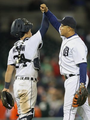 Tigers first baseman Miguel Cabrera and catcher James McCann celebrate the 9-6 win over the Twins on Wednesday, Sept. 14, 2016 at Comerica Park.