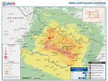 A map made available by USAID shows damage from an earthquake that rocked Nepal on April 25, 2015.