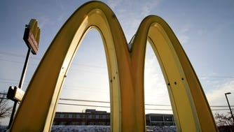 McDonald's restaurant's golden arches in Robinson Township, Pa.