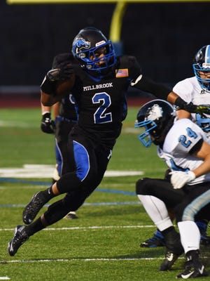 Millbrook High School's Delvin Wood makes a move around a Sullivan West defender in a Millbrook win earlier this season
