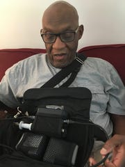 Inside his Staunton home on Thursday, July 19, 2018, Tom Davis is placed on a ventricular assist device that keeps him alive until he receives a heart transplant. Called a bridge to transplant, Davis, who has been on the organ wait list for one year, must wear the device at all times.