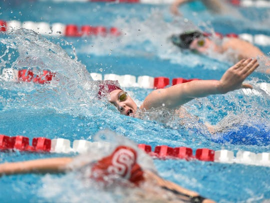 Shippensburg's Madison Osanitsch swims the girls' 200-yard