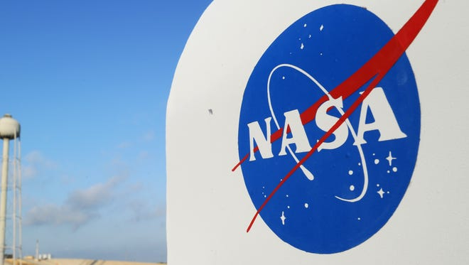 The NASA logo on a protective box for a camera near the space shuttle Endeavour at Kennedy Space Center in Florida in 2011.