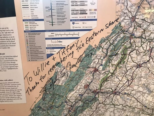 "Gov. Ralph Northam presented this map of Virginia to the McDonald's in Onley with an inscription that reads: ""To Willie + Tiffany, Thanks for remembering the Eastern Shore"" and bears Northam's signature."