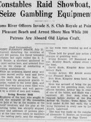 Asbury Park Press article from July 21, 1934, about an unusual law enforcement raid on a showboat docked in Point Pleasant Beach.