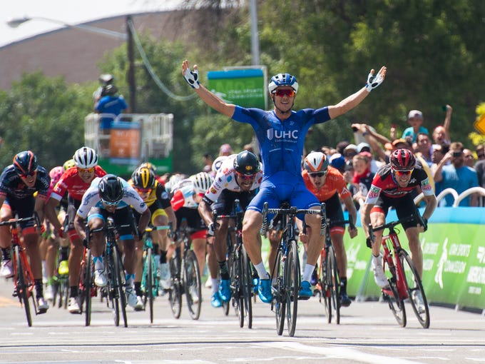 UnitedHealthcare Pro Cycling's Travis McCabe celebrates