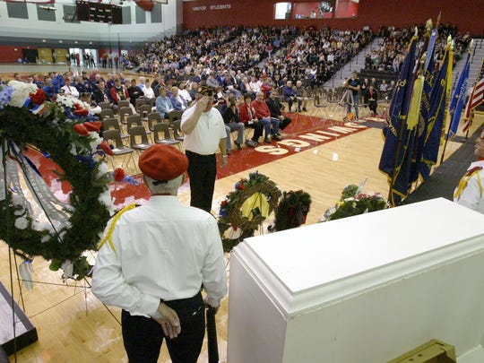 The South High School Fieldhouse, shown here during a Veteran's Day ceremony, was deemed suitable for the capacity needs of the Bernie Sanders campaign. Photo by Bruce Halmo/The Sheboygan Press