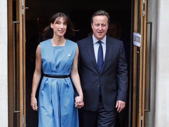 Britain's Prime Minister David Cameron and his wife