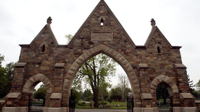 Entrance to Beech Grove Cemetery, Muncie, Indiana.