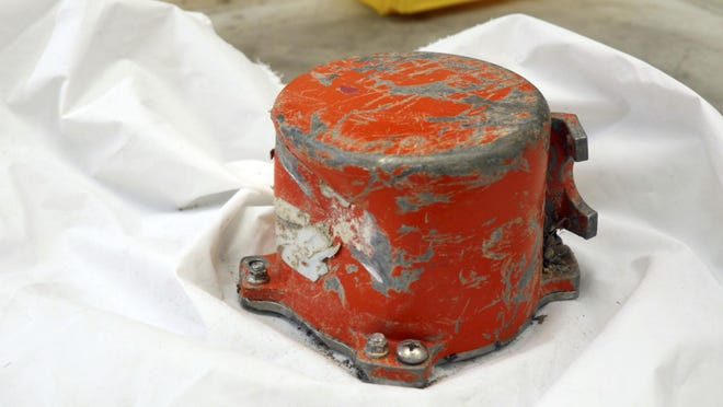 This photo provided by by the French air accident investigation authority BEA on Saturday, March 16, 2019, shows the cockpit voice recorder from the crashed Ethiopian Airlines jet, in le Bourget, north of Paris.