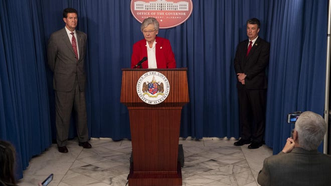 Alabama Gov. Kay Ivey speaks during a news conference at the state Capitol in Montgomery. Ivey is not ready to issue a shelter-in-place order as other governors have, a spokeswoman said.