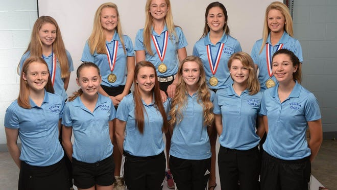Members of the Villa Maria golf team, which won the 2014 PIAA Class 2A team title, are photographed on Oct. 26, 2014. Team members, kneeling left to right, are sophomore Andrea McCormick, 16, freshman Lexi Jenks, 14, freshman Zoe Konzel, 14, freshman Sarah Gool, 14, freshman Olivia Heasley, 14, and freshman Makayla Davis, 15. Standing, from left, are freshman Ali Kloecker, 14, freshman Julia Fessler, 14, senior Annie Ciacchini, 18, senior Lia Fatica, 18, and senior Emily Fessler, 17.