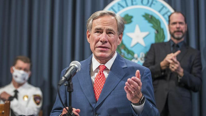 Texas Gov. Greg Abbott said Thursday, Sept.17, 2020 during a press conference that he would allow businesses to expand capacity in much of the state, citing a decline in coronavirus hospitalizations. The order allows businesses operating at 50% capacity to move to 75% starting Monday. That includes restaurants, retail, office buildings, manufacturing, gyms, libraries and museums. Bars remain closed under the order.