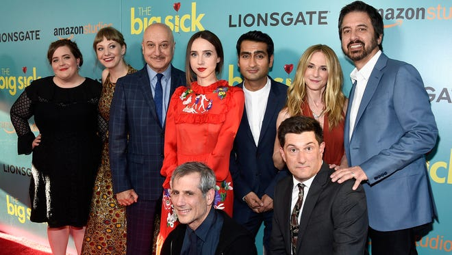 "(L-R) Aidy Bryant, Emily V. Gordon, Anupam Kher, Zoe Kazan, Kumail Nanjiani, Barry Mendel, Holly Hunter, Michael Showalter, and Ray Romao attend ""The Big Sick"" New York Premiere at The Landmark Sunshine Theater on June 20, 2017 in New York City."
