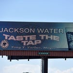 The electronic billboard promoting Jackson's water is visible along I-55 south before you reach the Northside Drive exit.
